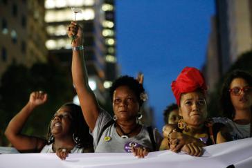 Gedenkmarsch für Marielle Franco und Protest gegen die Militarisierung in Rio de Janeiro am 21. März