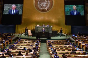 Der Präsident des Staats- und des Ministerrats der Republik Kuba, Miguel Díaz-Canel, bei seiner ersten Rede vor der UN-Generalversammlung am Mittwoch in New York