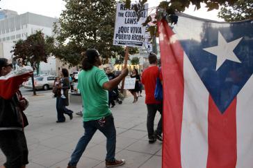 Demonstration gegen die US-Politik am Tag des Besuches von Präsident Donald Trump in Puerto Rico