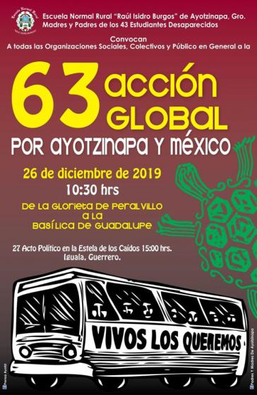Plakat der Acción Global für Ayotzinapa 2019 in Mexiko