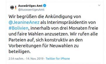 Tweet des deutschen Außenministeriums, der die Selbsternennung von Añez begrüßt