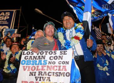Evo Morales bei der Abschlusskundgebung der Wahlkampagne in La Paz