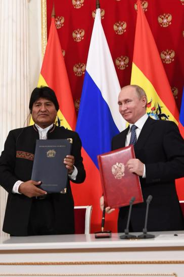 Die Präsidenten Morales und Putin unterzeichneten am 11.Juli mehrere Abkommen
