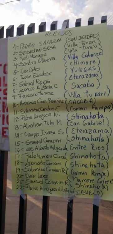Bewohner von Sacaba tragen Informationen über verletzte Kokabauern bei der Demonstration am Freitag zusammen