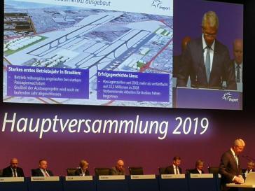 Fraport-Chef Stefan Schulte auf der Aktionärsversammlung der Fraport AG 2019