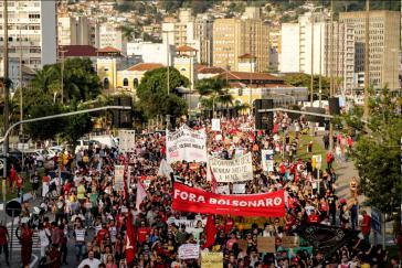 Demonstration am Freitag in Florianópolis. In über 300 Städten fanden Streikaktionen statt