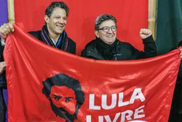 Jean-Luc Mélenchon mit dem PT-Politiker Fernando Haddad in Brasilien vor dem Besuch bei Lula