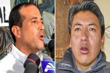 Zwischen den möglichen ultrarechten Kandidaten für die Wiederholung der Präsidentschaftswahlen in Bolivien, Luis Camacho (links) und Marco Pumari, stimmt die Chemie wohl nicht mehr...