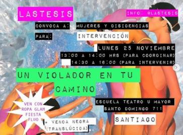 Las Tesis-Aufruf zur Beteiligung an der Performance am internationalen Tag gegen Gewalt an Frauen in Santiago