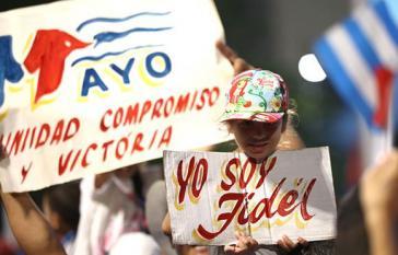 Auf der 1.-Mai-Demonstration in Havanna, Kuba