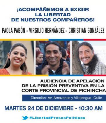 """Seit Mitte Oktober wegen """"Rebellion"""" im Gefängnis: Paola Pabón, Virgilio Hernández und Christian González"""