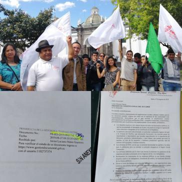 Die Bauernkoordination Ecuadors demonstrierte auch in Quito vor dem Präsidentenpalast und übergab ein Protestschreiben an Moreno