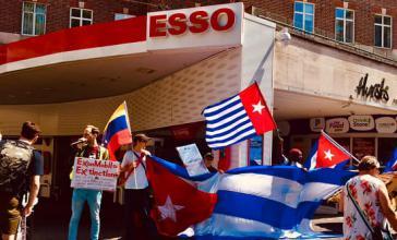 Protest gegen die Exxon-Klage in London