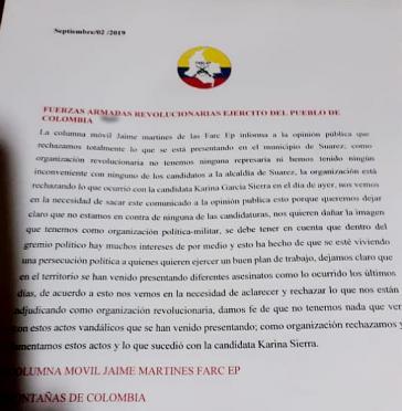 Die Farc-EP distanziert sich von den Angriffen auf Kandidierende