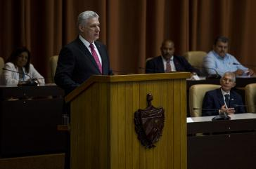 Díaz-Canel vor der Nationalversammlung von Kuba