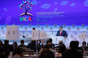 Der venezolanische Präsident, Nicolás Maduro, bei seine Rede in Caracas beim Treffen der Blockfreien Staaten (NAM)