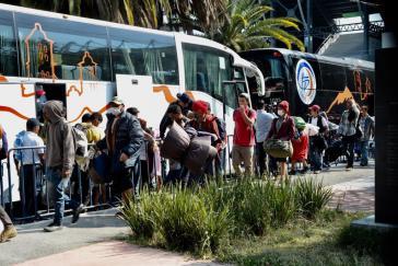 Ankunft von Migrantenfamilien in Flüchtlingsunterkünften in Mexiko-Stadt am vergangenen Montag