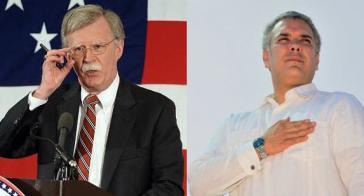 Für US-Sicherheitsberater Bolton (links) und Kolumbiens Präsident Duque steht der Sturz von Venezuelas Präsident kurz bevor