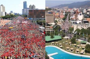 Zwei Großdemonstrationen in Caracas am Samstag: Chavisten (links) kamen auf der Avenida Bolívar im Zentrum zusammen, Anhänger von Guaidó in Las Mercedes im Ostteil der Hauptstadt Venezuelas