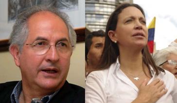 Antonio Ledezma und Maria Corina Machado drängen auf den Abbruch der Gespräche zwischen Opposition und Regierung in Venezuela