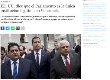 Der deutsche Botschafter Kriener halb verdeckt im Hintergrund rechts neben Guaidó, hier in einem Text des Auslandssenders Deutsche Welle
