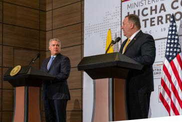 US-Außenminister Mike Pompeo kommt in letzter Zeit regelmäßig zu Besuch in die Region, so wie hier im Januar beim kolumbianischen Präsidenten Iván Duque