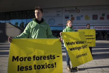 Protest gegen Brasiliens Agrarministerin am Rande der Grünen Woche in Berlin