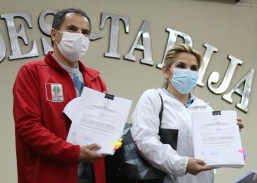 Bei einem Auftritt im Departamento Tarija forderte Áñez eine erneute Aufschiebung der Wahlen