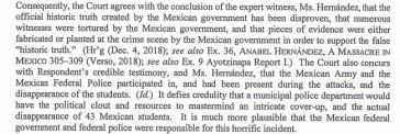 Auszug aus dem Urteil eines Asylverfahrens, das mit dem Fall Ayotzinapa in Zusammenhang steht