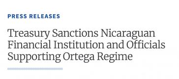 Das US-Finanzministerium hat erneut Sanktionen gegen Funktionäre der Regierung von Nicaragua verhängt