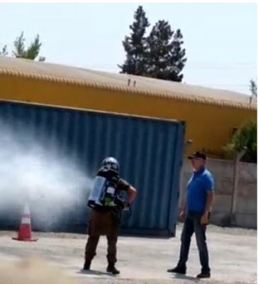 Chilenischer Carabinero wird offenbar an Ifex3000 ausgebildet