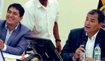 Haben früher schon gut zusammengearbeitet: Andrés Arauz (links) und Rafael Correa. Nun sollen sie bei den Präsidentschaftswahlen antreten