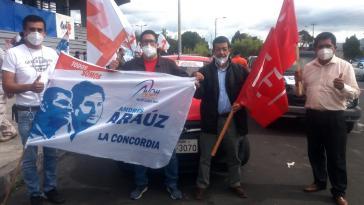 """Die Indigenenorganisation FEI beteiligte sich an der """"Karawane für die Demokratie"""" am 24. September zur Unterstützung der UNES-Kandidaten Arauz und Correa"""