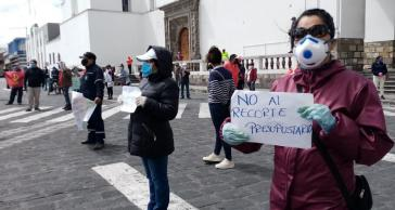 Kundgebung gegen die Kürzungen im Sozialbereich in Latacunga