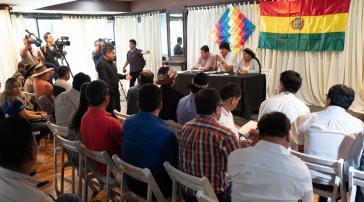Ex-Präsident Evo Morales bei einer Konferenz im argentinischen Exil zu den Neuwahlen in Bolivien
