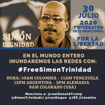 """""""Twiteratón"""" für die Freiheit von Simón Trinidad am 30. Juli"""