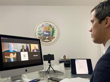 In ausländischer Botschaft? Venezuelas selbsternannter Interimspräsident Juan Guaidó bei einer Videokonferenz am Donnerstag