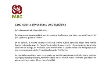 Der Farc-Vorsitzende Timochenko fordert in einem dreiseitigen Brief an Präsident Duque die Einhaltung des Friedensvertrages