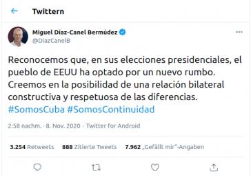 Kubas Präsident Miguel Díaz-Canel kommentiert den Ausgang der US-Wahlen