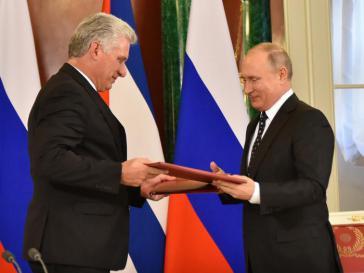 Russlands Präsident Putin empfing seinen kubanischen Amtskollegen Díaz-Canel im Oktober 2019 im Kreml