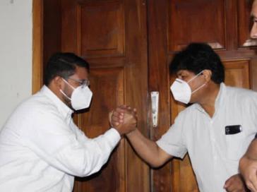 Evo Morales bei der kürzlichen Wiedereröffnung der bolivianischen Botschaft in Venezuela