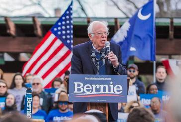 Bernie Sanders bei einer Wahlkampfveranstaltung