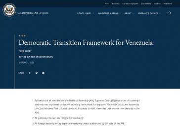 """Die US-Regierung legte am 31. März ihren Plan """"für einen friedlichen demokratischen Übergang in Venezuela"""" vor"""