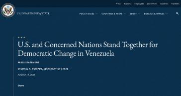 """""""Die USA und besorgte Nationen stehen zusammen für demokratischen Wechsel in Venezuela"""", titelt die Pressemitteilung des US-Außenamtes"""
