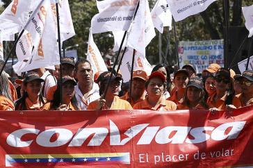 Demonstration in Caracas gegen die US-Sanktionen gegen die staatliche Airline Conviasa