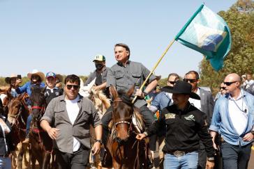 Zeigt sich siegessicher: Bolsonaro bei seiner Ankunft in Uberlândia am 31.August