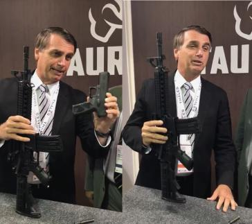 """""""Mehr Waffen, mehr Sicherheit"""" – Expert:innen widersprechen diesem Credo von Jair Bolsonaro, hier bei einer Waffenmesse 2017 (Screenshot/Montage)"""