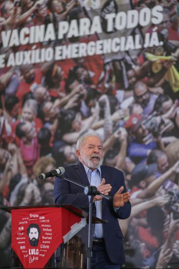 Lula da Silva bei seiner Rede  am 10. März im Gewerkschaftssitz