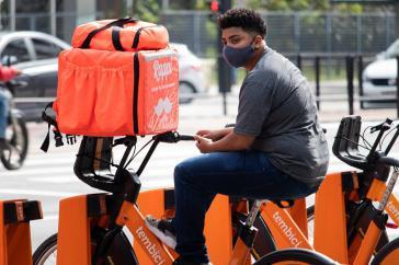 Rappi-Fahrer in São Paulo. Der Lieferdienst ist Lateinamerikas erfolgreichstes Start-up