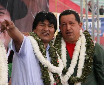Die zwei Leitfiguren der Linksregierungen: Standen Evo Morales und Hugo Chávez einem wirklichen Wandel entgegen oder waren sie dessen Anführer? (Archivfoto aus dem Jahr 2010)